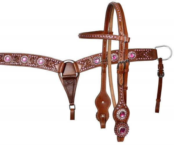showman breastcollar set with pink rhinestones acorn tooling and hair on cowhide inlay behind. Black Bedroom Furniture Sets. Home Design Ideas
